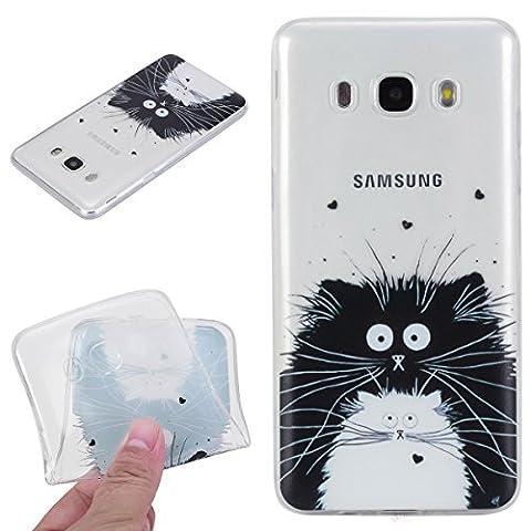 Beiuns pour Samsung Galaxy J5 (2016) / J5 (2016) Duos (5,2 pouces)(Pas pour Samsung Galaxy J5 2015) Coque en Silicone TPU Housse Coque - HX531 Chat noir et blanc