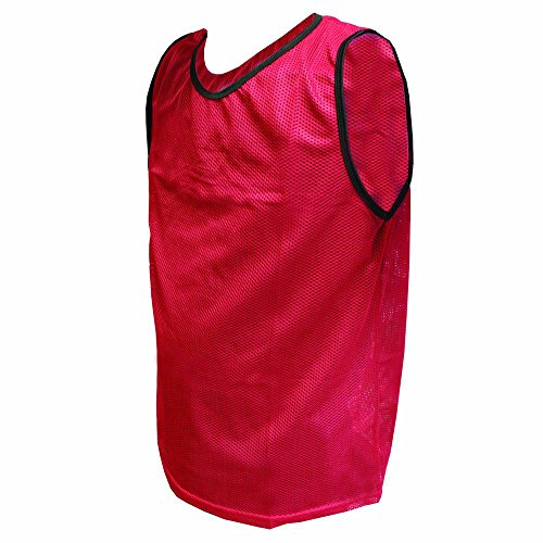 Amber Athletic Gear Pinnie Youth Scrimmage Mesh (Set of 12), Red, MB-Y