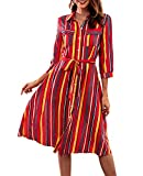 T.SEBAN Kleid Damen Blusenkleid Streifen Midi Kleider (Streifen-1, M/38)