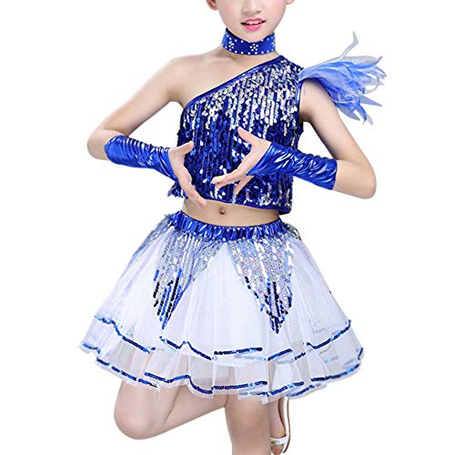 Yudesun Childrens Sequin Ballroom Jazz Dancewear - Kinder Rock Bühnentanz Kostüme Street Dance Modern Hip Hop Jungen Mädchen Clothing Set Trend Mode