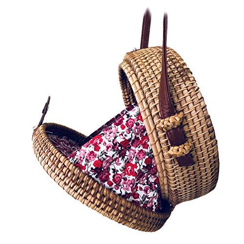 t mutter runde rattan - tasche mit leinen und leder knöpfe aus handtaschen ()