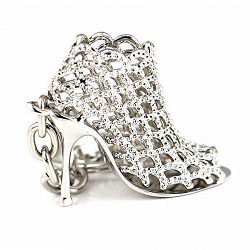 yuhemii hoch Ferse Schuhe Mode-Silber Schlüsselanhänger Anhänger Cha? Nicht (Silber-ferse Schuhe)
