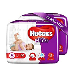 Huggies Wonder Pants Small Size Diapers Combo Pack of 2, 60 Counts Per Pack (120 Counts)