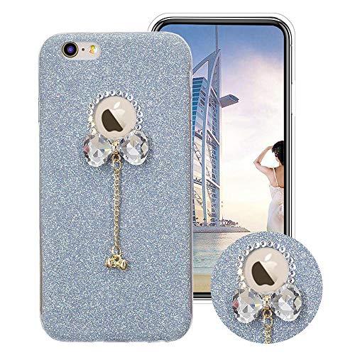 Glitzer Bling Hülle für iPhone SE/5S/5, Obesky Weich TPU Silikon Handyhülle Luxus Diamant Bow-knot Anhänger Designer Schutzhülle für Apple iPhone 5/5S/SE, Blau (Iphone 5 Designer)