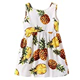 Tyoby Mädchen Kleid Ärmelloses Prinzessinenkleid mit Ananas-Print Party Hochzeitskleid Rock,Sommer Retro Babykleidung(Weiß,100)