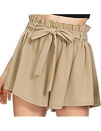 SHOBDW Pantalones Cortos elásticos de la Playa de la impresión de la Raya  de Las Mujeres del Verano de la Cintura Alta Pantalones… 1baf4959c201