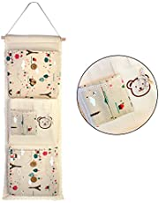 HOKIPO® Lace Fabric 3-Layer Pocket Wall Door Cloth Colorful Hanging Storage Bags, 29 x 73 cm