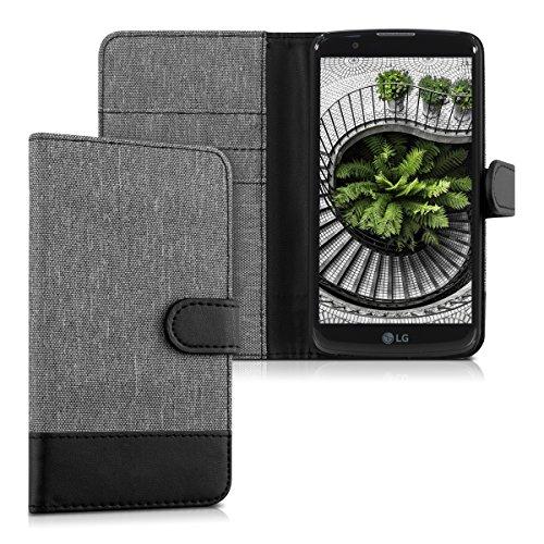 kwmobile Hülle für LG K10 LTE (2016) - Wallet Case Handy Schutzhülle Kunstleder - Handycover Klapphülle mit Kartenfach & Ständer Grau Schwarz