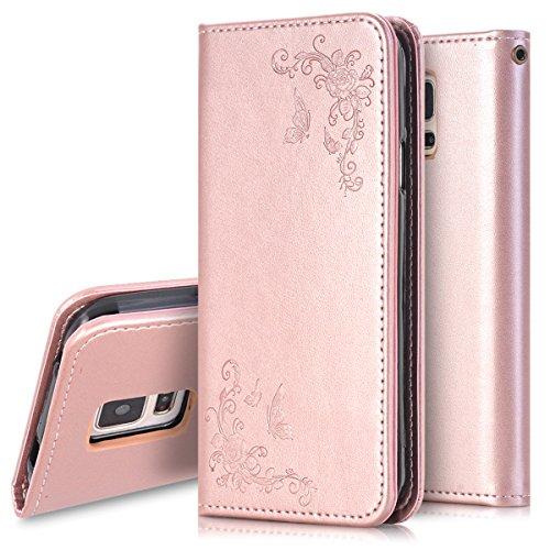 galaxy s5 mini gold Galaxy S5 Mini Hülle,Galaxy S5 Mini Leder Tasche Wallet Case,Ukayfe Schmetterling Blumen PU Ledercase Brieftasche Flip Tasche Hüllen Schutzhülle Handyhülle für Samsung Galaxy S5 Mini, Rose Gold