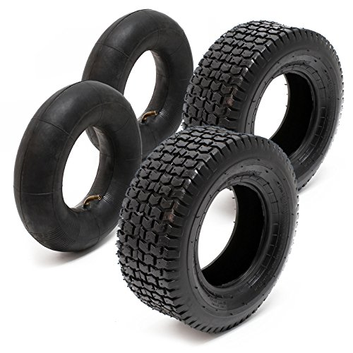 2xReifenmantel 2xSchlauch für Aufsitzmäher/Rasentraktor 16x6.50-8 4PR Winkelventil (16x8 Traktor Reifen)