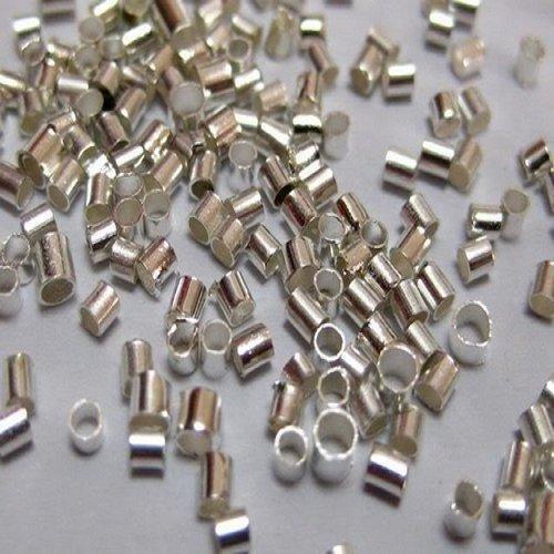 JOYDIY - Schiaccini blocca perle a forma di tubo, diametro 2 mm, confezione da 1000 pezzi, placcati in