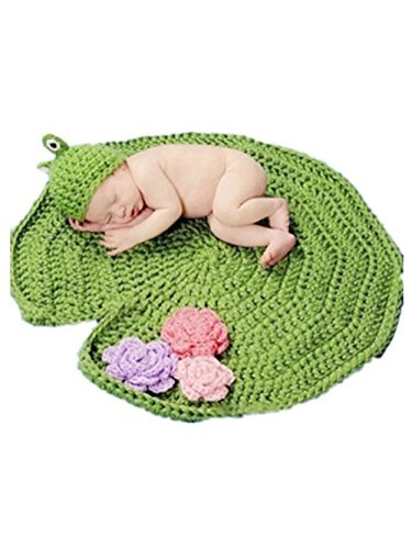 pep-baby-baby-newborn-hand-knitted-crochet-hat-costume-baby-photograph-props-set-frog-on-lotus-leaf