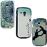 Lanveni 3x Samsung Galaxy S3 Mini i8190 Handyhülle Hardcase Schutzhüllen Shell Abdeckung Back Cover(Blau Lieben Herz +Finger Herz + Blume Totem)