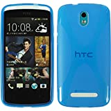 PhoneNatic Case für HTC Desire 500 Hülle Silikon blau X-Style Cover Desire 500 Tasche + 2 Schutzfolien