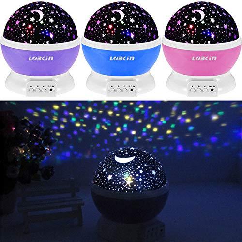Ecandy 360° drehbarer 3 Modus Lichtprojektor, Romantisches Kosmos Sternhimmel für Schlafzimmer, Nachtlicht für Kinder, Babys, Weihnachtsgeschenk, Liebhaber, USB/Battierie betrieben.(blau) - 7