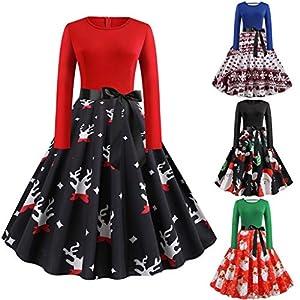 Floweworld Ladies 50s Vintage Party Kleider Weihnachten Santa Claus Bedruckte Kleider mit Gürtel Weihnachten Plissee…