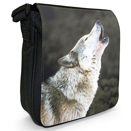 Wolf Wölfe Kleine Schultertasche aus schwarzem Canvas Grauer Wolf heulend