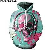 3D Imprimé crâne musique Hip Hop Sweatshirts Sweatshirts Hommes Femmes unisexe Chandail Outwear Automne Nouveauté Vestes Manteaux Homme Rock,M
