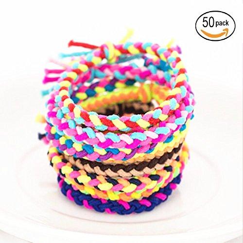 foviupet-Haargummis, elastisches Haarband, geflochten, mehrfarbig, Haargummi, elastisch, für...