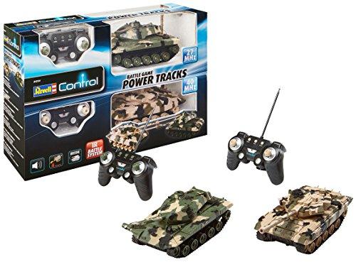 Revell Control 24224 - RC Panzer Set, Battle Game POWER TRACKS, 2 RC Panzer mit Infrarot-Schussfunktion, Soundmodul, Rückstoßeffekt, Mündungsfeuer-LED, Kettenlaufwerk mit Gummikette, MHz
