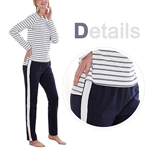 Dolamen Femme Pyjamas de couple, Femmes Hoodie Ensemble de Pyjama Hiver, Coton Ensemble pyjama en, Manche Longue & Pantalon Longue avec les poches Avec Capuche Bleu