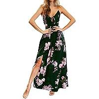 FRAUIT Vestidos de Playa para Las Mujeres Impreso Cruzar Correa Cintura Alta Floral División Casual Sin Mangas Vestido de Honda Vestidos de Bola de Las señoras Vestidos Largos Maxi para la Fiesta