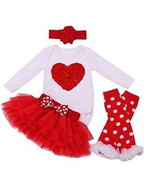 FEOYA–(Set di 4) vestito da tutù Bambine Neonati Pigiama Gonna Dolce Motivo moda con maniche lunghe fascia per...