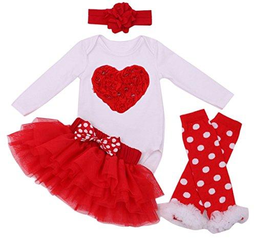 Feoya Mädchenrock Neugeborene 4PC Set Langärmelig Tutu Tanzkleid Partykleid Romper Cosplay Kostüm für Halloween (Für Mädchen Kostüme Tanzabend Kleine)