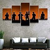 mmwin Lienzo para la Sala de Estar o Dormitorio Arte de la Pared Trabajo 5 Piezas Soldado Militar Fotos Posters Decorativos para el hogar