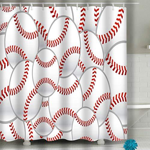 Xunulyn Beach Shower Curtain Baseball Stitches Fashion Fabric Bathroom Decor 60 X 72 Inch