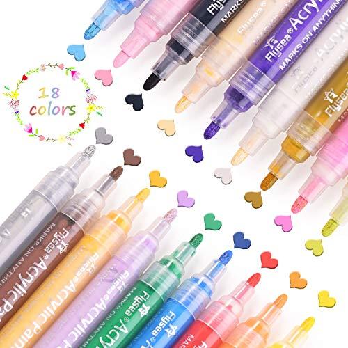 Rotuladores de Pintura Acrílica, 12 Colores Permanente Marcadores Dibujar, para Piedra, Roca,...