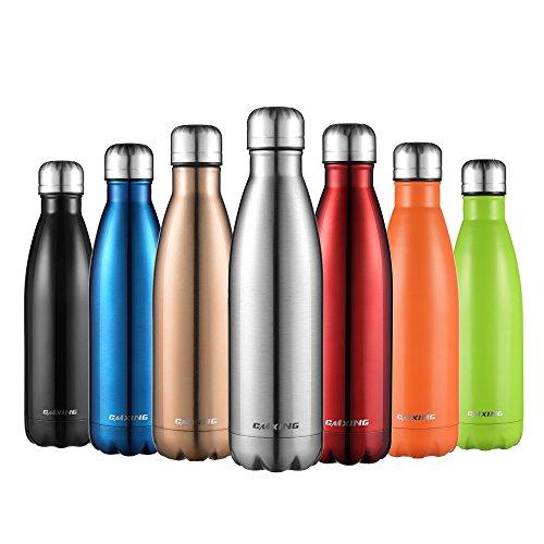 (Cmxing Doppelwandige Thermosflasche 500 mL mit Tasche BPA-Frei Edelstahl Trinkflasche Vakuum Isolierflasche für Outdoor-Sport Camping Mountainbike (Silber, 500 mL))