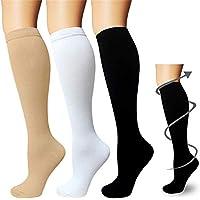 3 paia di calze a compressione da uomo e donna, calzini a compressione, da corsa, sport, volo, viaggi, gravidanza o…