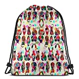 beautiful& Animal Toons_10921 3D Print Drawstring Backpack Rucksack Shoulder Bags Gym Bag for Adult 16.9'x14'