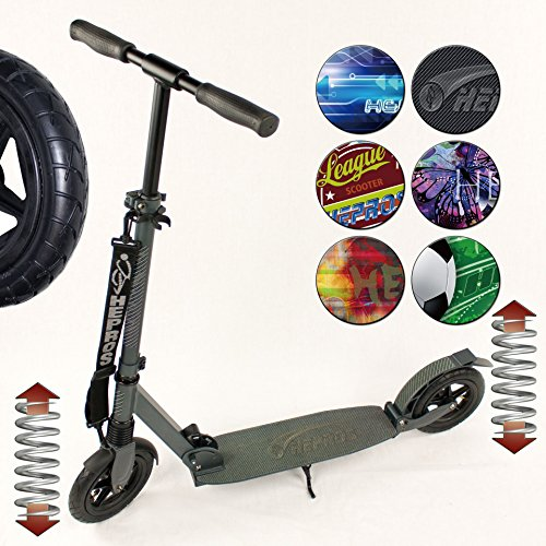 Hepros vollgefederter XXXL Air Fully Scooter 200mm Cityroller anthrazit Farbauswahl Carbon