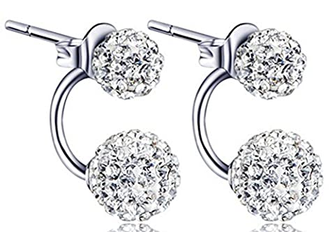SaySure - Real Pure S925 Solid Silver AAA Crystal Stud Earrings