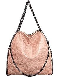 D'Autres Hauteurs Women Chain Paillette Large Casual Tote Shoulder Bag (01Beige)