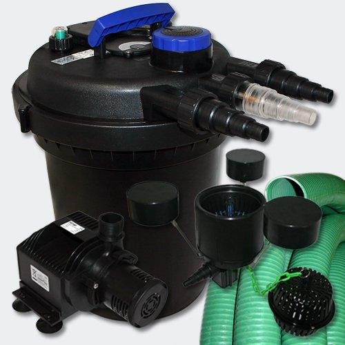 WilTec Kit de Filtration à Pression Bassin 6000l Stérilisateur UVC 11W Pompe 25m Tuyau Ecumeur
