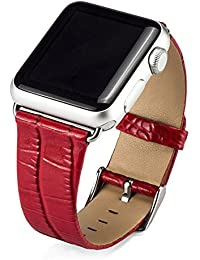 Cuitan Durable Cuero Watch Band para 38mm Apple Watch iWatch, Cocodrilo Patrón con Adaptador Acero Hebilla Banda Muñeca Correa de Reloj Reemplazo Reloj Muñeca Band Watchband Strap Watchband para Apple Watch - Rojo (No incluido Watch)