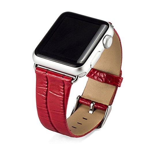 Cuitan Durevole Pelle Cinturino per 38mm Apple Watch iWatch, Coccodrillo Modello con Adattatore Acciaio Fibbia Watch Band Strap Bracciale Cinturino Orologio Sostituzione Cinghia di Polso Wristband Watchband per Apple Watch - Rosso (Non incluso Watch)