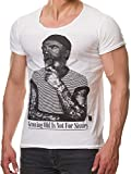 Herren T-Shirt Growing Old is Not for Sissies Freizeitshirt Tattoo Print Motiv Slim Fit Tshirt (XL, Weiß)