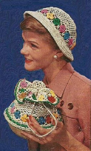 Floral Purse Bag (Vintage 1950 Hat and Bag Crochet Patterns (FV-393) ~ Floral Drawstring Purse with Matching Bucket-Style Hat (Quick Tricks In Crochet Book No. 267) (Quick ... In Crochet, Book No. 267) (English Edition))