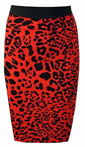 Fast Fashion Frauen Rock Aztec Tupfen Tribal Gedruckten Bleistift Leopard Rot