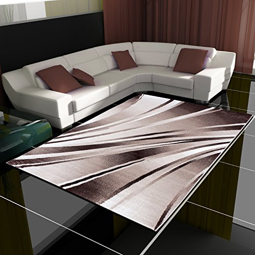 Tappeto con design moderno a onde, a pelo corto, per soggiorno, diversi colori e misure --, polipropilene, marrone, 160 x 230 cm