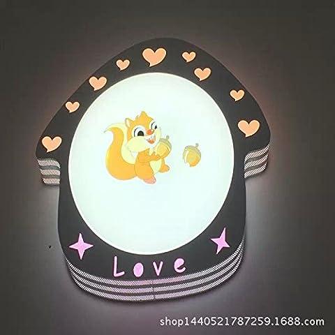 Nariz Dormitorio Infantil LED Lámpara dibujos animados creativa lámpara de techo Avión flor animal Forma techo plafón de dibujos animados ardilla Hierro Lámpara de