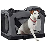 Your Home Folding Pet Crate, Travel Carrier for Dogs & Cats with Fleece Mat & Carry Handle (Medium: L60 x W42 x H42cm)