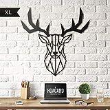 Deer Head Metal Wall Art by Hoagard XL- Arte Geometrica da Parete in Metallo Testa di Cervo di Hoagard | 75 cm x 80 cm | Arte Geometrica Della Parete Del Metallo & Decorazione Murale