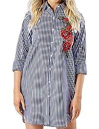 Frauen-Blumen-gestickter Streifen-übergroßes Damen-Hemd-Kleid