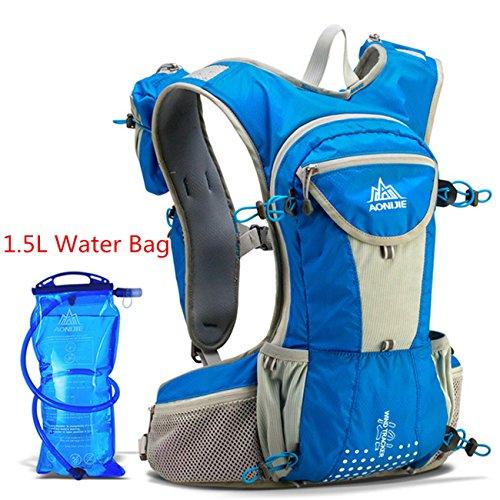Imagen de aonijie  bolsas de  de nailon impermeable running marathon ciclismo running bolsa de deporte + 1.5l hidratación bolsa de agua, azul