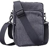 JP Journey Umhängetasche Klein mit Smartphone Fach bis 7 Zoll Handy Schultertasche Messenger Bag für Damen Herren Grau 1,7 Liter